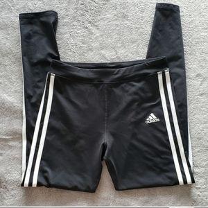 🌸Adidas🌸 EUC 3 Stripes Black Cropped Legging